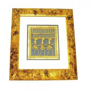 Dokra Art Decorative Brass Metal Designer Wall Frame (29.5 cm x 29.5 cm)