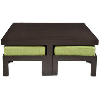 Arra trendy coffee table with four stools green buy for Trendy coffee tables