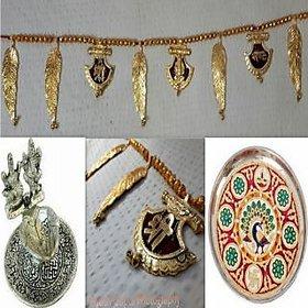 satya diwali combo-door hanging+ganesh laxmi with attach diya+9 inch pooja thali