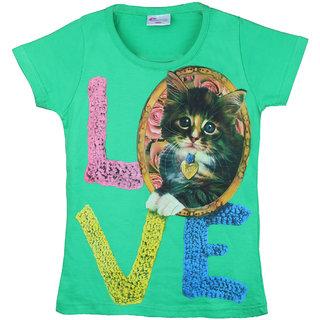 Eimoie Girls Half Sleeves Printed T-Shirt (Green)