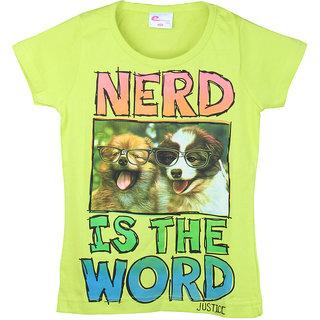 Eimoie Girls Half Sleeves Printed T-Shirt (Lime)