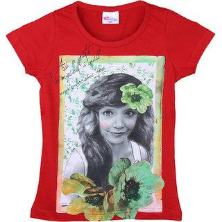 Eimoie Girls Half Sleeves Printed T-Shirt (Red)