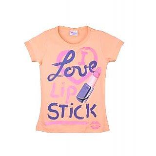 Eimoie Girls Half Sleeves Printed T-Shirt (Peach)