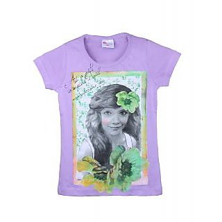 Eimoie Girls Half Sleeves Printed T-Shirt (Purple)