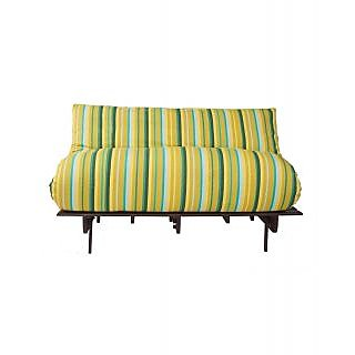 Arra Double Futon Sofa Cum Bed With Mattress - Green Lines