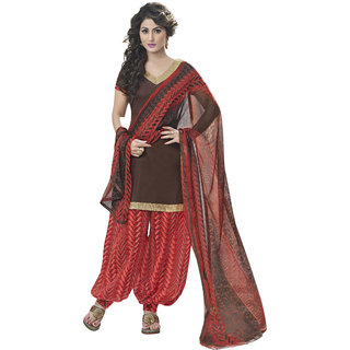 Miraan Brown Cotton Printed Salwar Suit Dress Material (Unstitched)
