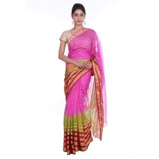 Geroo Khaki Linen Floral Saree With Blouse