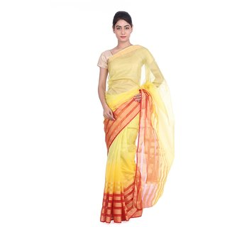 Geroo Red Linen Floral Saree With Blouse