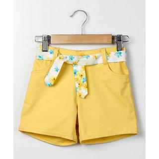 Beebay Yellow Twill Shorts Yellow