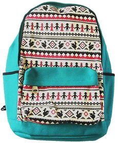 Bagtivity Sea Green with Multicolor Ikat Design Trendy Canvas Backpack