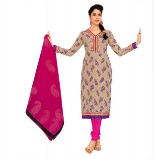 Miraan Pink And Beige Cotton Printed Salwar Suit Dress Material