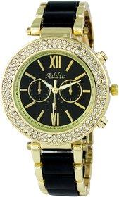 Addic Ceramic Beauty Geneva Studded Wristwatch for Women -Black (Fashion Watch) WW027