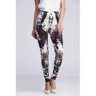 Toscee Digital Printed Multicolor Black Mirrored Leggings