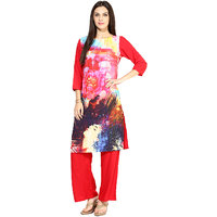 Jaipur Kurtis Pure Cotton Complete Set of MultiColor Kurta and Red Palazzo