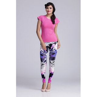 Toscee Digital Printed Multicolor Magenta Floral Leggings