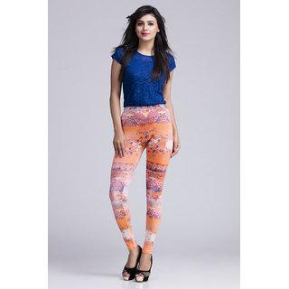 Toscee Digital Printed Multicolor Morning Orange Leggings