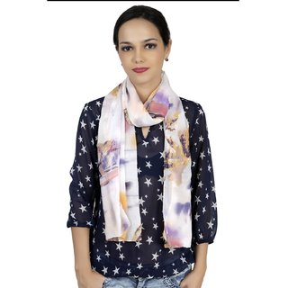 Stynch  White And Multi Colour Scarf