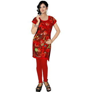 New Rayon Zull Red Kurti For Ladies Wear