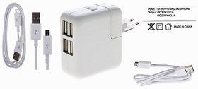 GlowLites USB Power Adapter with 4 Port Battery Charger with 2 USB Cable