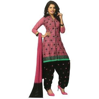 Radha Fashion Pink  Black cotton Embroidery Unstitched Churidar Patiyala