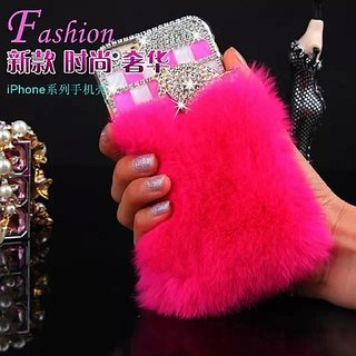 Luxury Rhinestone Diamond Fashion Rabbit Fur Case For iphone 6 Plus