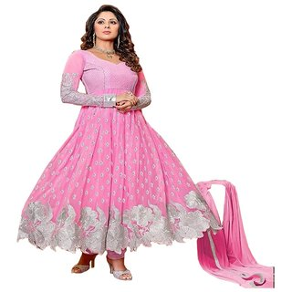 sangita ghosh pink anarkali salwar suit