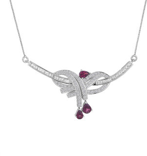Allure Jewellery 925 Sterling Silver Rhodolite and CZ Pendant