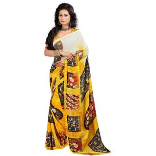 Stylobby Brown & Yellow Brocade Printed Saree With Blouse