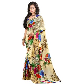 Stylobby Beige Brocade Printed Saree With Blouse