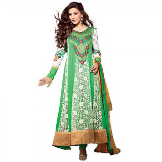 Gerbera Designer Amazing Georgette Green and Beige Designer Salwar Suit