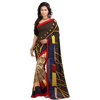 Stylobby Brown Brocade Printed Saree With Blouse