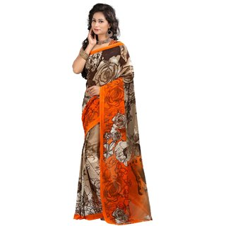Stylobby Brown & Orange Brocade Printed Saree With Blouse