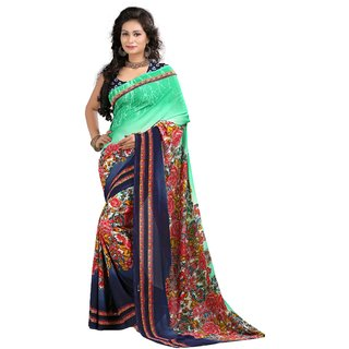 Stylobby Green & Blue Brocade Printed Saree With Blouse