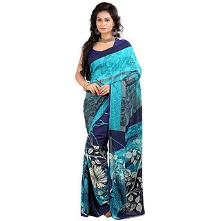 Stylobby Blue & Turquoise Brocade Printed Saree With Blouse