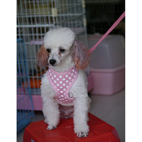 Pet Dog Soft Mesh Harness Clothes L - Pink With White Dots