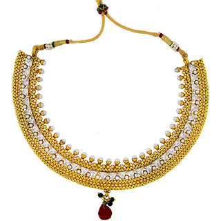 The Jewelbox Traditional Choker Kundan Gold Plated Necklace Earring Set For Women