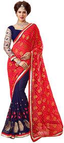 Parisha Beige & Orange Kanchipuram silk Self Design Saree With Blouse