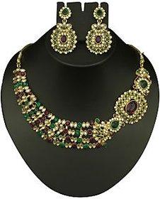 kriaa Fancy Design Green & Maroon Necklace Set  -  2103004