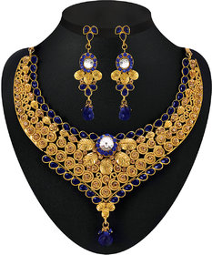 Kriaa Gold Plated Stone Set in Blue -  2200608