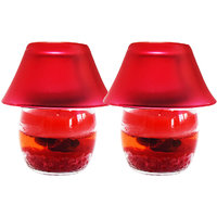 Gel Glass Candle Lamp Rose 9cm Set Of 2