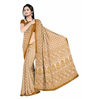 Fostelo Multicolor Cotton Printed Saree Without Blouse