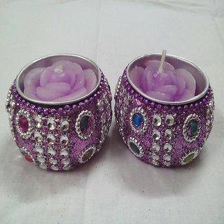 Designer Purple Diya cum Candle (Pack of 2) by Kapoor Creation