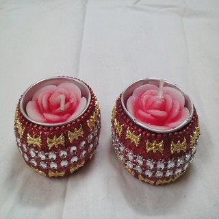 Designer Red Diya cum Candle (Pack of 2) by Kapoor Creation