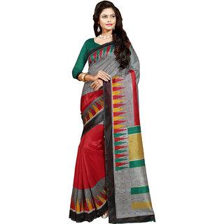 Gerbera Designer Amazing Bhagalpuri Silk Red and Grey Designer Printed Saree
