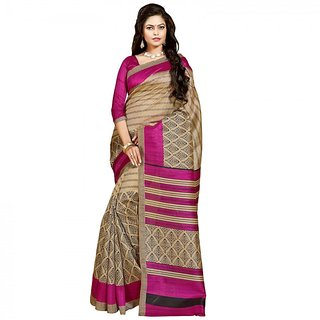 Gerbera Designer Amazing Bhagalpuri Silk Beige and Pink Designer Printed Saree