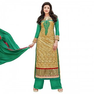 N Fashions Kajal Aggarwal georgette Green semi stitched pakistani Suit