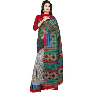 Gerbera Designer Amazing Bhagalpuri Silk Red and Green Designer Printed Saree