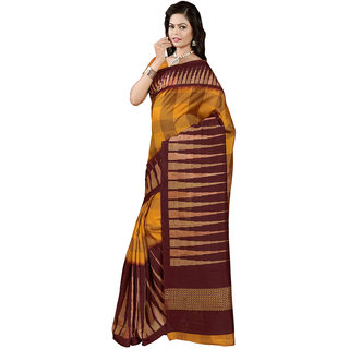 Gerbera Designer Amazing Bhagalpuri Silk Orange and Brown Designer Printed Saree
