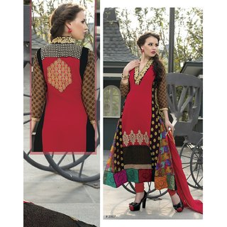 Harrow Villa Fashionable Avadh Red multi salvar Suit