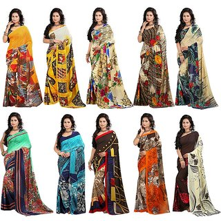 Stylobby Floral Print Saree Pack Of 10